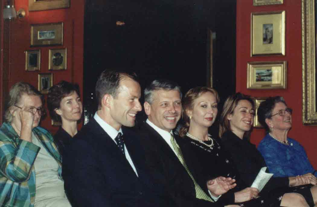 The First Lady Antonina Stoyanova, Ambassador Valentin Dobrev, Prince Kyril, Lady Logan and Sonia Rouve enjoying a Friends of Bulgaria fundraising concert in Leigton House on 11th July 2000