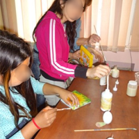 ZOV Saturday Club for children  in residential home craft making, decorating eggs, candles